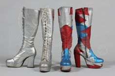Two pairs of women's glam-rock style platform boots, 1970s, in red, silver and blue glitter fabric with zip fasteners; and silver glitter with red stars with front laces, size 6 UK