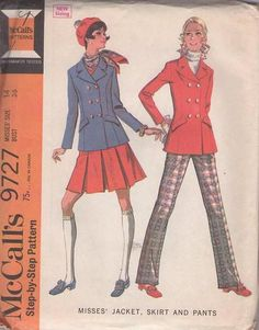 MOMSPatterns Vintage Sewing Patterns - McCall's 9727 Vintage Sewing Pattern SHARP Mod Militant Double Breasted Suit Jacket, Pea Coat, Box Pleats Skirt or Trousers Size 14 Vintage Dress Patterns, Clothing Patterns, 70s Inspired Fashion, Skirt Pants, Skirt Suit, Suit Jacket, Ballet Fashion, Mccalls Sewing Patterns, Double Breasted Jacket