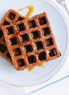 This simple, 100 percent buckwheat flour recipe yields light and crisp waffles that are nice and fluffy on the inside! Extra waffles freeze well for later.