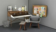 Cosmo Desk + Chair + Pillow Stool at Leo Sims via Sims 4 Updates