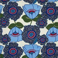 Hippe en retro stoffen van MooiMam - Retro Bloemen (blauw) www.mooimam.nl