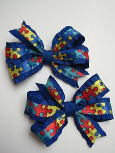 Autism Awareness Pair of Hair Bows by Hair Whimsy