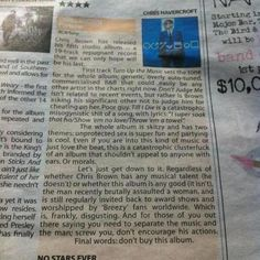 Scathing Chris Brown album review - NO-STARS-EVER - hilarious!