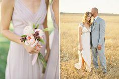 rustic romantic bridesmaid bouquet with flowers and natural grasses | light pink, purple and green | photo: Jose Villa