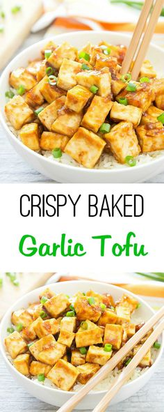 Crispy Baked Garlic Tofu. Tofu is baked until golden and crispy and then tossed in a Chinese-style garlicky sauce.