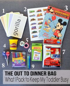 What an awesome idea! The Out To Dinner Bag: things to pack to keep your kiddo busy (and keep you sane) Toddler Travel, Toddler Play, Travel With Kids, Toddler Stuff, Kid Stuff, Craft Activities For Kids, Toddler Activities, Crafts For Kids, Travel Activities
