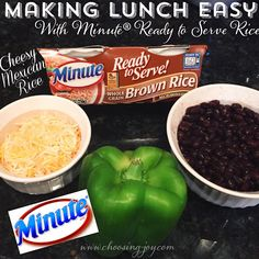 Back To School lunches can be quick and easy with the help of Minute® Ready to Serve Rice. Start with a cup of the rice then add your favorite toppings like black beans, cheese and peppers. You'll have lunch in minutes!  AD LunchWithMinuteSweeps