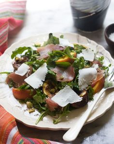 Dinner for One: Grilled Fig and Peach Arugula Salad with Ricotta Salata and Prosciutto
