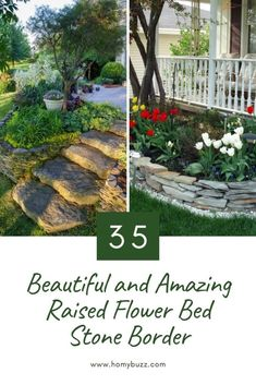 35 Beautiful and Amazing Raised Flower Bed Stone Border - HomyBuzz