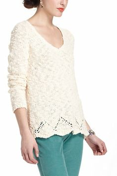 Peaked Pointelle Sweater Just bought this sweater. It is cuter than in this picture. Cute Sweaters, Sweaters For Women, Anthropologie Clothing, Love Fashion, Womens Fashion, Winter Fashion, Just Style, Colored Pants, Sweater Outfits