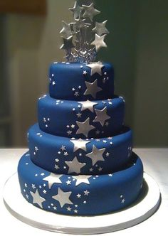 Image detail for -Silver Star Themed Wedding Cake Navy Blue & Silver Star Wedding Cake . Hot Pink Cakes, Blue Cakes, Fancy Cakes, Themed Wedding Cakes, Cool Wedding Cakes, Wedding Cupcakes, Wedding Stuff, Wedding Parties, Beautiful Cakes