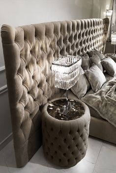 Modern Round Button Upholstered Nubuk Leather Bedside Table at Juliettes Interiors. Contemporary Light Fixtures, Contemporary Office, Contemporary Bedroom, Contemporary Furniture, Contemporary Style, Contemporary Apartment, Contemporary Architecture, Staircase Contemporary, Contemporary Cottage