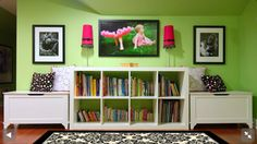 Basement Playroom Ideas: bookshelf in middle with a toy box on either side