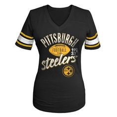 Pittsburgh #Steelers Women's Glitter Gel V-neck Football Tee. Click to order! - $34.99