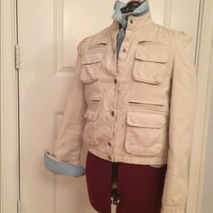 GAP Fleece Lined Pocketed Jacket pockets are a girl's best friend, right? this 8 pocket cuddle-fest of a jacket has a snap button placard & snap wrists, with an elasticized waist. measurements pit to pit are 18 inches & neck to hem are 19 inches. Worn once for 3 hours. GAP Jackets & Coats