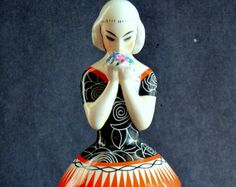Robj Paris France Art Deco Figural Tobacco Jar Bonbonniere Cotton Box Vanity Jar Glazed Ceramic Porcelain Antique Rare Covered French Jar