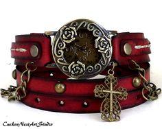 Red Wrap Watch,  Womens leather watch, Bracelet Watch, Distressed Wrist Watch, Fashion, Wrap Bracelet, Antique Rose, Cross