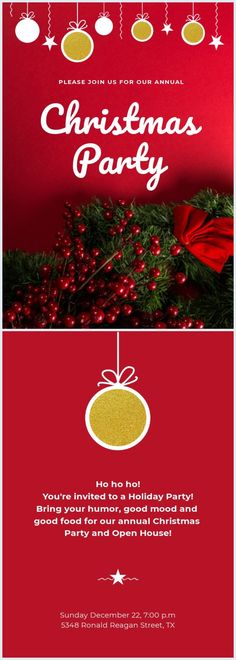 Our talented people from Flipsnack designed this free red Christmas party invitation template just for you! Edit the layout as you'd like and make a Christmas to remember. Don't forget to share your invitation design with us! Free Christmas Printables, Christmas Templates, Office Christmas, Red Christmas, Templates Printable Free, Card Templates, Christmas Party Invitation Wording, Birthday Card Template, Holiday Parties