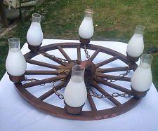 """Vintage Western 32"""" Wood / Copper Wagon Wheel Chandelier 6 Light Horseshoe"""