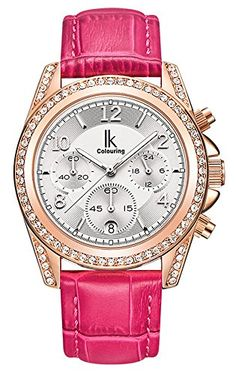Fanmis Rose Red Leather Strap Rhinestone Calendar Quartz Waterproof Women Watch White Dial * Read more at the image link.