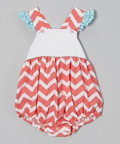 Look what I found on #zulily! Pink Chevron Ruffle Bubble Bodysuit - Infant & Toddler by Stellybelly #zulilyfinds