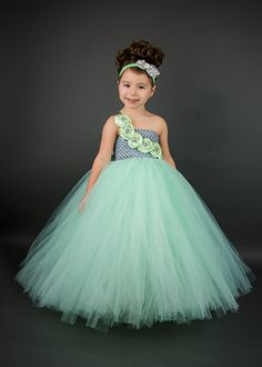 Grey/Silver and Mint Green Rhinestone Couture Flower Girl Tutu Dress