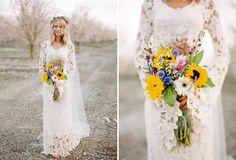 Spring Wedding Ideas - sunflower bouquet