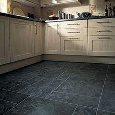 Karndean Atlantic Slate effect Opus Vinyl Flooring Slate Floor Kitchen, Best Flooring For Kitchen, Vinyl Flooring Kitchen, Kitchen Vinyl, Luxury Vinyl Flooring, Luxury Vinyl Plank, Kitchen Decor, Kitchen Ideas, Kitchen Design
