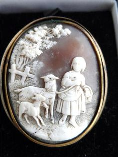 VINTAGE FINE CARVED SHELL CAMEO BROOCH RURAL SCENE GIRL WITH GOATS VICTORIAN
