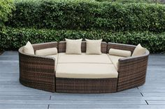 Ohana Outdoor Luxury Patio Wicker Mixed Brown Furniture Sectional 4 pc Daybed Sofa set. Additional $150 off Now at $1349 ( Coupon Code: M150) Outdoor Wicker Patio Furniture, Patio Furniture Sets, Wicker Furniture, Cool Furniture, Outdoor Decor, Indoor Outdoor, Outdoor Patios, Rattan Sofa, Brown Furniture