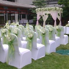 New Wedding Ceremony Chairs Flowers Simple 33 Ideas Outdoor Wedding Centerpieces, Wedding Reception Chairs, Church Wedding Decorations, Wedding Ceremony, Outdoor Ceremony, Reception Ideas, Church Decorations, Outdoor Decorations, Wedding Seating