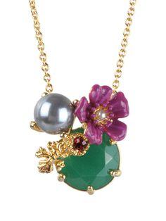 #LesNéréides #jewel #necklace #flower #stones #delicate #green #grey #pink #enamel #garden #handmade #romantic  Shop on #www.lesnereides-usa.com