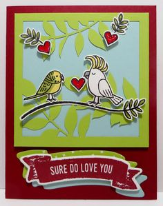 Lynn's Locker: Flora and Flutter December 2017 Paper Pumpkin Alternate Card with Bird Banter, Eastern Palace, Sure Do Love You, Lots to Love - IV