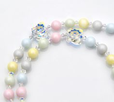 Butterfly Baptism Rosary - Personalized Name - Swarovski Crystal Multi Pastel Easter Colors - Catholic Baby Baptism Gift - With Prayer Book by RosariesOfLove on Etsy