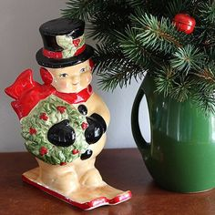 "59 Likes, 8 Comments - VINTAGE - THRIFTING - DIY (@houseofhawthornes) on Instagram: ""I have no idea where I got this snowman but he's one of my favorite Christmas decor items. It's not…"""