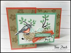 Nest Images, Silhouette Images, Bird On Branch, Fun Fold Cards, Bird Cards, Card Tutorials, Friend Birthday, Stampin Up Cards, Hand Stamped
