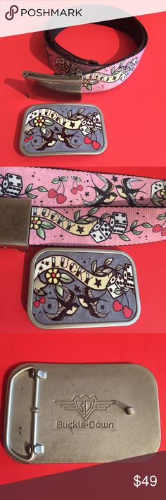 """""""Lucky"""" Buckle Down seatbelt belt Sz M & Buckle !! This is a """"lucky"""" seatbelt belt plus one Buckle Down """"lucky"""" belt buckle. Seatbelt belt is pink with designs of cherries , dice, and birds, it is a size medium. The belt buckle measures approximately 3.5"""" x 2.25"""". The belt is in good condition and the buckle is in great condition. See photos for details. Buckle Down Accessories Belts"""