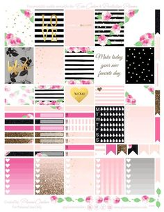 Free Printable Roses & Stripes Planner Stickers {page one} from Planner Onelove Planner 2018, To Do Planner, Agenda Planner, Free Planner, Blog Planner, Happy Planner, Budget Planner, Planner Pages, Wash Tape