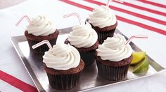 Rum-spiked buttercream and cola-infused cupcakes combine to make a one-of-a-kind dessert, reminiscent of a cocktail-hour classic.