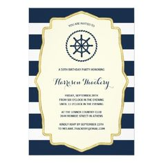 Navy Blue Stripes   Nautical Birthday Party 5x7 Paper Invitation Card