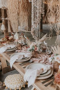 A dreamy bohemian wedding shoot with beach inspired decor elements, bridal crowns, dried flower crowns and stunning lace wedding dresses. Bohemian Beach Wedding, Beach Wedding Inspiration, Boho Bride, Bohemian Party, Beach Weddings, Bohemian Decor, Wedding Table Decorations, Wedding Themes, Wedding Shoot