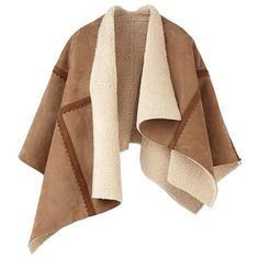 Burberry Shearling Poncho ($2,995) ❤ liked on Polyvore featuring outerwear, jackets, coats, coats & jackets, cardigans, burberry, cape coat, brown poncho, shearling cape and cape poncho