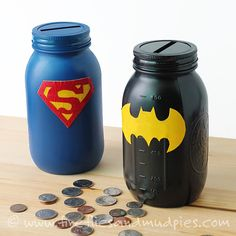 Mason Jar Superhero Banks for the boys for Christmas and possibly some girly ones!