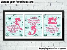 Set of 3 Little Mermaid Bathroom Rules Girl's by HappyDaysCreation