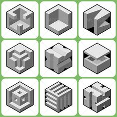 Abstract Cube Shape Icons Set 3