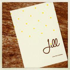 Birth Announcement Card JILL  Letterpress printing by www.letterpressgust.com