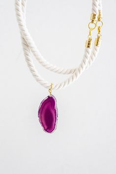 Rope Jewelry Set N3 - Necklace & Bracelet - Purple Agate Gem Ornamental Semi-Precious Stone - Gold Brass - Maroon Ivory Cream Cotton