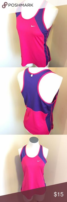 """Nike Dri Fit Runners Tank Two tone, purple and pink. Tiny Fabric pick on the front. 34"""" Bust 25"""" Long. Nike Tops Tank Tops"""