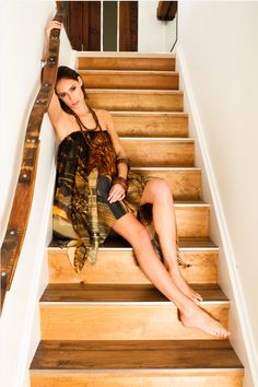 coconut printed hankerchied dress by lorena santin andrade as seen in ACF magazine Modern Rustic Furniture, Reclaimed Wood Furniture, Printed Cushions, Decorative Cushions, Wine Barrel Furniture, Silk Art, Wine Barrels, Railings, Joinery
