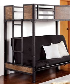 furniture of america brighton wood panel twin over futon bunk bed   black   with a lower bunk that fits a standard futon mattress the furniture of america     bedroom furniture   samba full futon bunk bed with blue futon      rh   pinterest